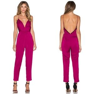 Lovers + Friends My Way Satin Berry Jumpsuit